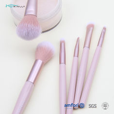 6PCS Aluminum Ferrule Pink Handle Makeup Brushes
