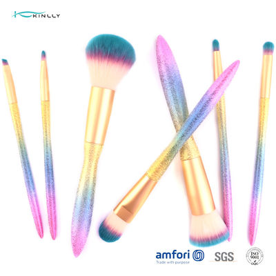 Synthetic Hair Plastic Gradient Cosmetic Makeup Brush Set 8 PCS With Sponge