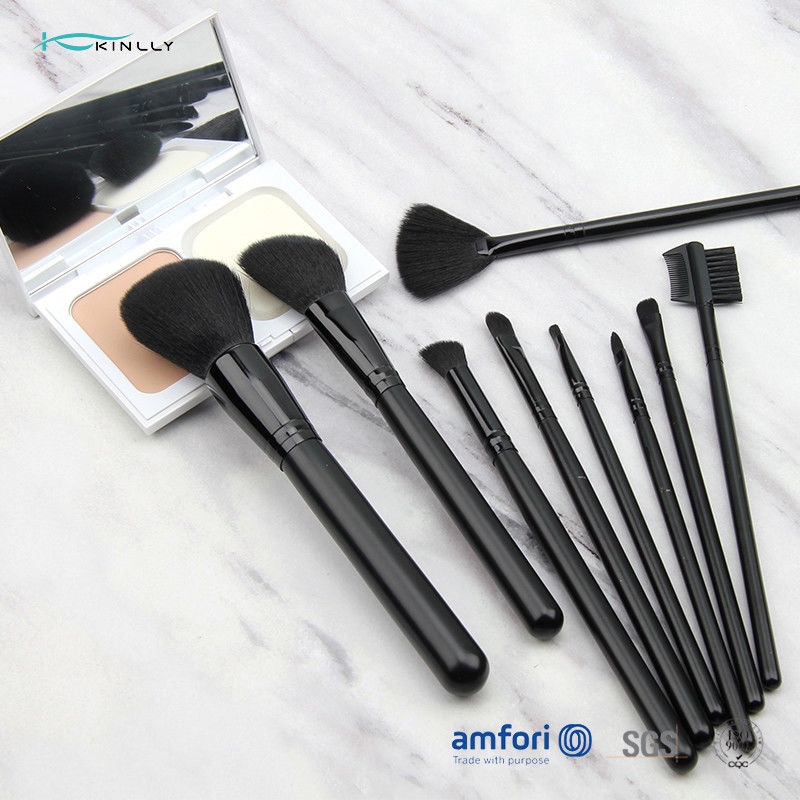 9pcs Black Aluminum Ferrules Soft Makeup Brush Set